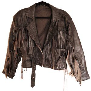 ⚡️host pick⚡️ Vintage 80s fringe leather jacket